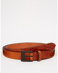 Asos Brand Skinny Smart Belt In Tan Snakeskin