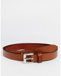 Asos Brand Smart Super Skinny Leather Belt In Tan