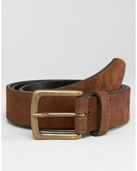 Asos Brand Suede Belt In Brown