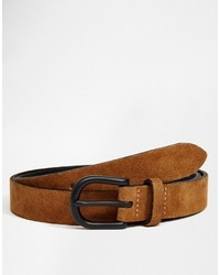 Asos Brand Suede Belt In Tan