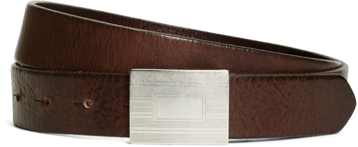 Brooks Brothers Plaque Buckle Calfskin Leather Belt