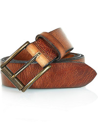 River Island Brown Cracked Italian Leather Belt
