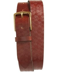 Topman Brown Embossed Leather Belt