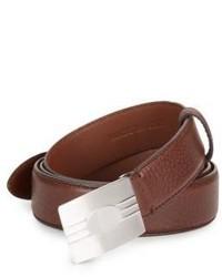 Brunello Cucinelli Pebbled Leather Slider Belt