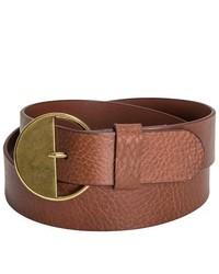 Danbury Country Leather Belt Brown W Brass Buckle