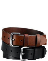 Polo Ralph Lauren Embossed Logo Patch Leather Belt