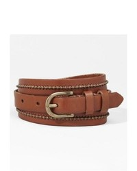 Express Leather Beaded Center Buckle Belt Brown Large