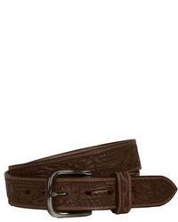 Will Leather Goods Floral Embossed Belt Brown