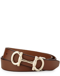Salvatore Ferragamo Gancini Bit Leather Belt Tan