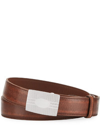 Brunello Cucinelli Grained Leather Buckle Belt Brown
