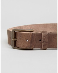 Asos Leather Belt With Brown Vintage Finish