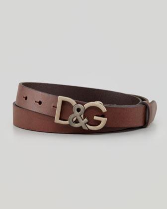 Dolce & Gabbana Leather Logo Buckle Belt Dark Brown