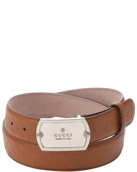 Gucci Light Brown Leather Silver Buckle Belt