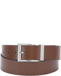 Hugo Boss Medium Brown Leather Single Prong Buckle Belt