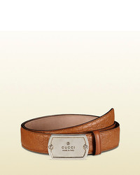 Gucci Microsima Leather Belt With Dog Tag Buckle