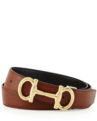 Salvatore Ferragamo Parigi Reversible Leather Belt Brownblack