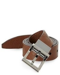 Burberry Plaid Stamped Leather Belt