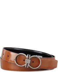 Reversible gancini leather belt brown medium 135745