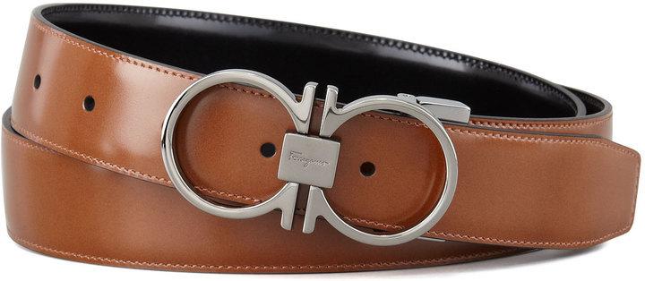 63c4074ca9 ... Salvatore Ferragamo Reversible Gancini Leather Belt Brown ...