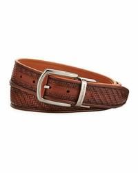 Ermenegildo Zegna Reversible Pelle Tessuta Leather Belt Light Brown
