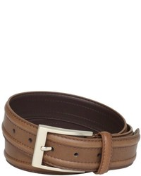Florsheim Ribbed Leather Belt With Edge Stitching
