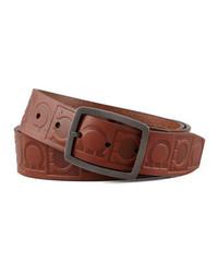 Salvatore Ferragamo Leather Logo Engraved Gancini Belt Brown