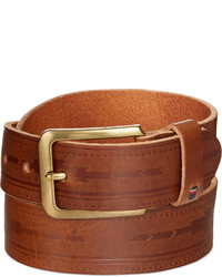 Tommy Hilfiger Serape Deep Embossed Panel Brown Belt