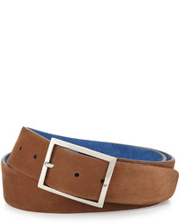 Simonnot Godard Reversible Suede Belt Light Brownroyal Blue