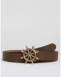 Asos Skinny Leather Belt In Brown With Nautical Buckle