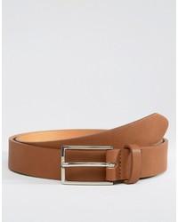 Asos Smart Slim Belt In Tan Faux Leather