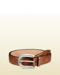 Gucci Ssima Leather Belt With Round Buckle