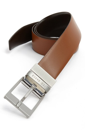 Ted Baker London Reversible Leather Belt Tan Dark Brown 36