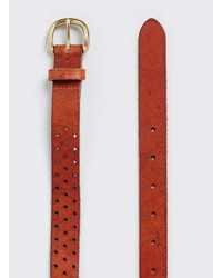 Topman Tan Perforated Leather Belt