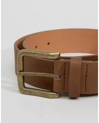 Asos Wide Belt In Brown Faux Leather