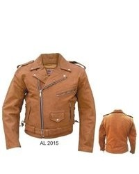 Allstate Leather Brown Basic Motorcycle Jacket Premium Buffalo Leather Full Zipout Liner Side Lace