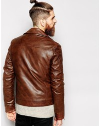 Leather Biker Jacket Brown - Jacket