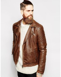 Brown Leather Biker Jackets for Men | Men's Fashion