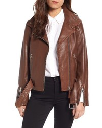 Belted leather moto jacket medium 4952608