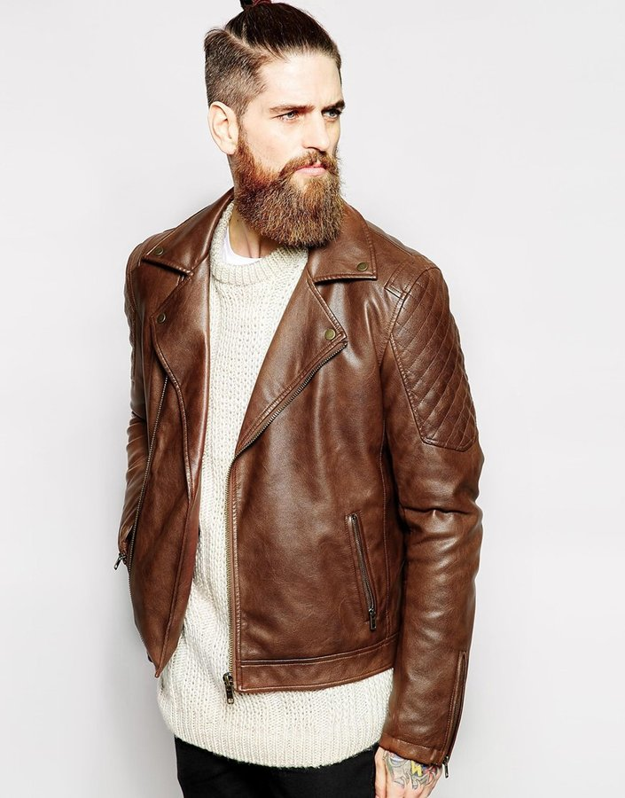 Asos Brand Faux Leather Biker Jacket In Brown | Where to buy & how ...