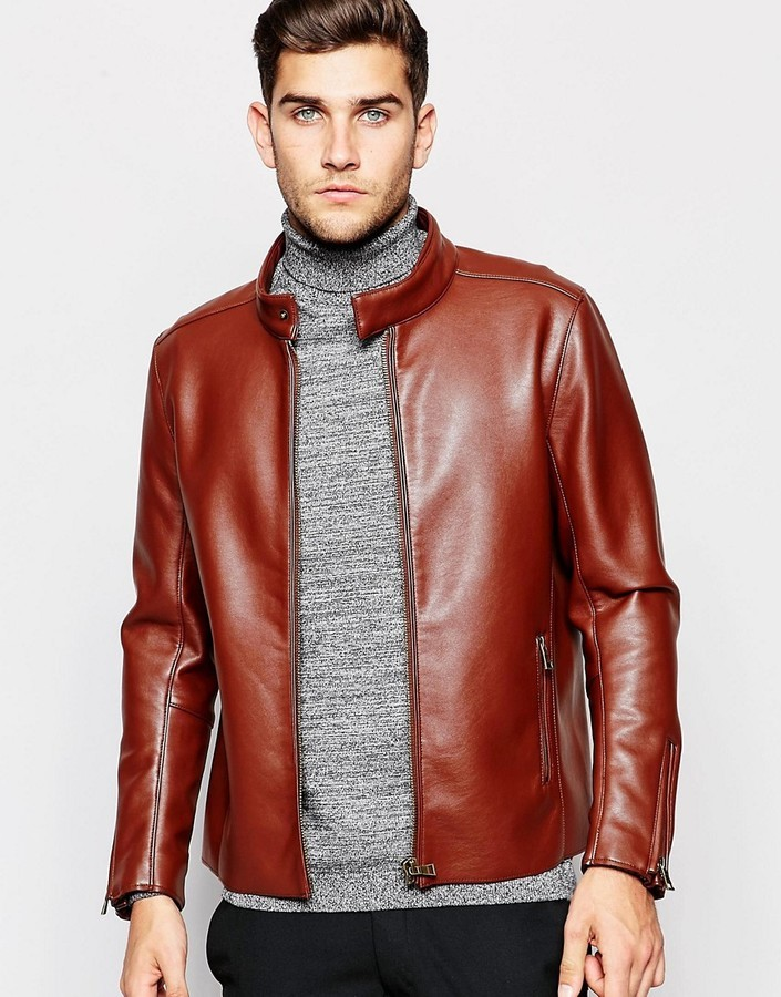 8fb17f95e2afb ... Brown Leather Biker Jackets Asos Brand Faux Leather Racing Biker Jacket  ...