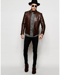 e3cf26cf9e00a ... Asos Brand Leather Racing Biker Jacket In Brown ...