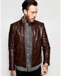 5010c0d55c613 ... Asos Brand Leather Racing Biker Jacket In Brown
