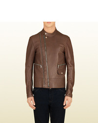 Gucci Leather Asymmetrical Zip Biker Jacket