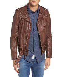 Schott NYC Hand Vintaged Slim Fit Leather Motocycle Jacket