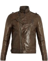 Bottega Veneta Intrecciato Trimmed Leather Biker Jacket