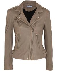IRO Leather Biker Jacket Mushroom