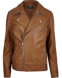 River Island Light Brown Leather Look Biker Jacket