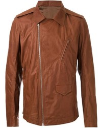 Rick Owens Cutaway Collar Biker Jacket