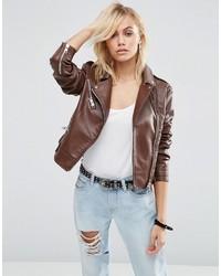 Asos Textured Leather Look Biker Jacket