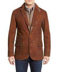 FLYNT Classic Fit Distressed Leather Hybrid Coat